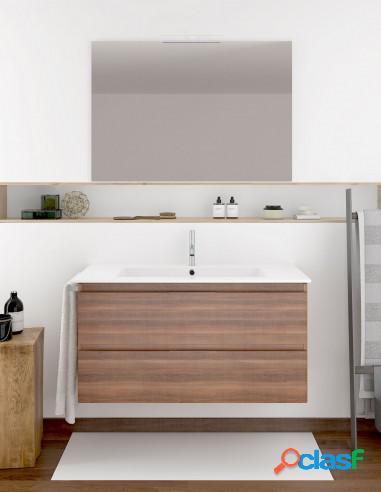 Mueble De Baño Económico Suspendido Con Lavabo Y Espejo