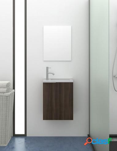 Mueble De Baño Pequeño Suspendido Con Espejo Y Lavabo