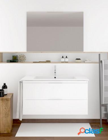 Mueble De Baño Suspendido Con Lavabo Y Espejo