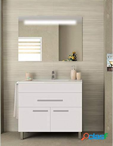 Mueble De Baño Un Cajón Y Armario Con Lavabo Y Espejo
