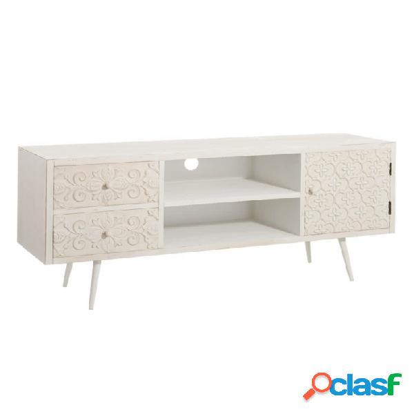 Mueble De Tv Crema Dm Y Metal Vintage 140.00 X 35.00 60.00