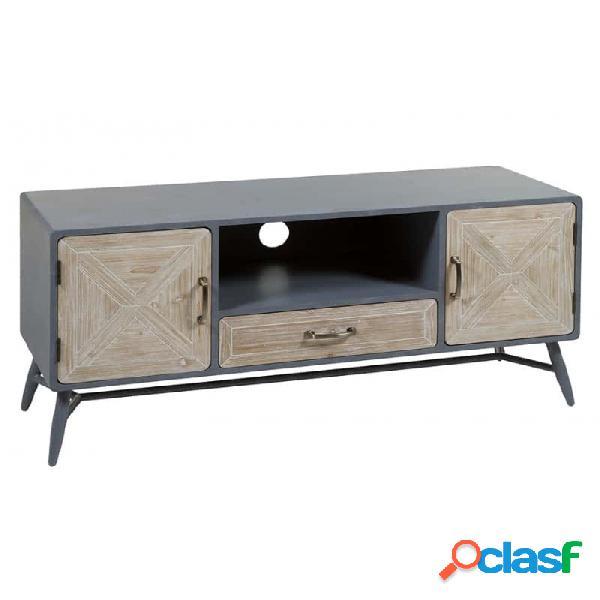 Mueble De Tv Gris Madera Y Abeto 120 X 43 58