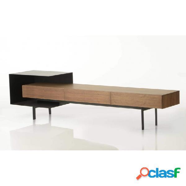 Mueble De Tv Marron Negro Metal 195 X 44,5 58