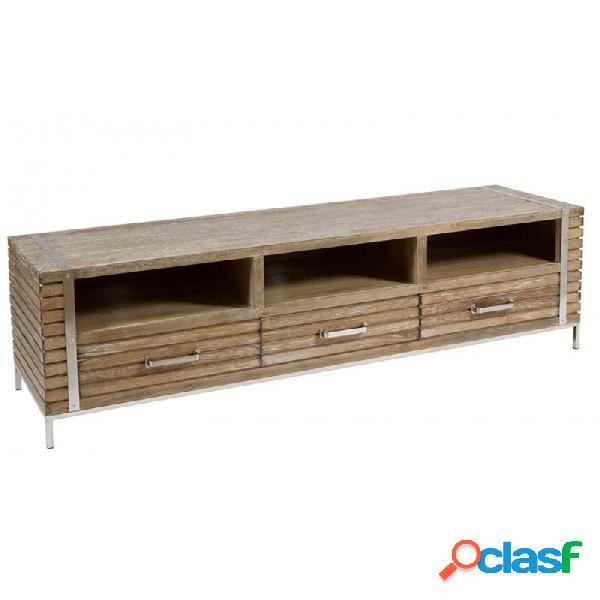 Mueble De Tv Natural Madera Moderno 160 X 45 51