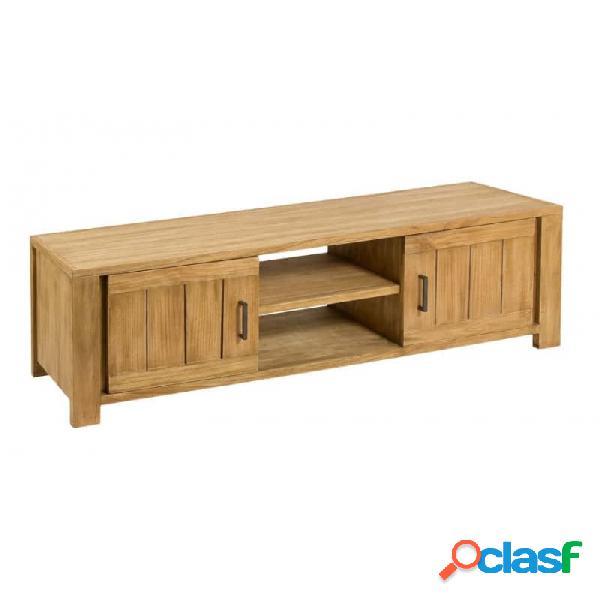 Mueble De Tv Natural Madera Y Mindi Moderno 140 X 40 50