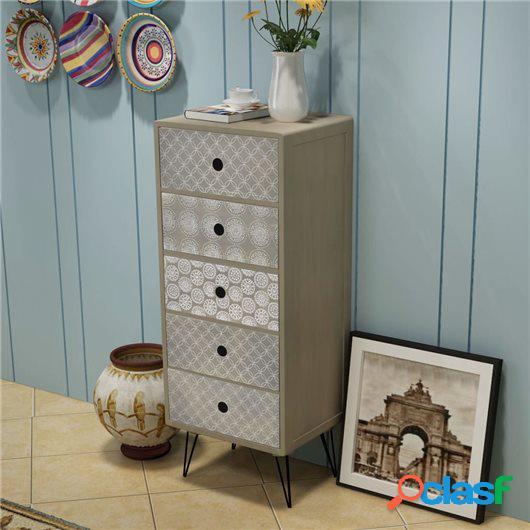 Mueble auxiliar con 5 cajones gris