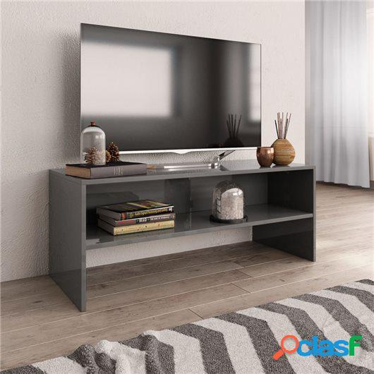 Mueble de TV aglomerado gris brillante 100x40x40 cm
