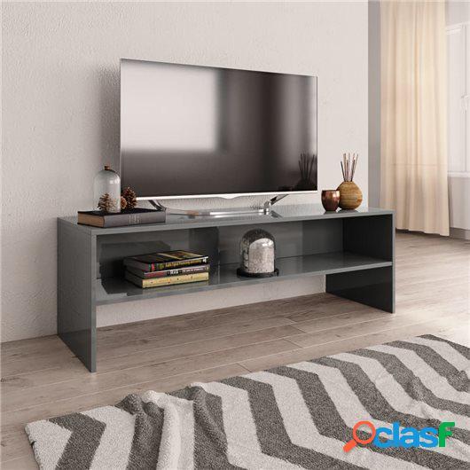 Mueble de TV aglomerado gris brillante 120x40x40 cm