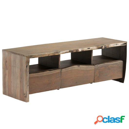 Mueble de TV madera acacia maciza borde irregular 120x35x40