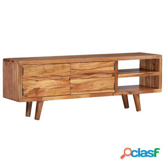Mueble de TV madera maciza acacia puertas talladas 117x30x40