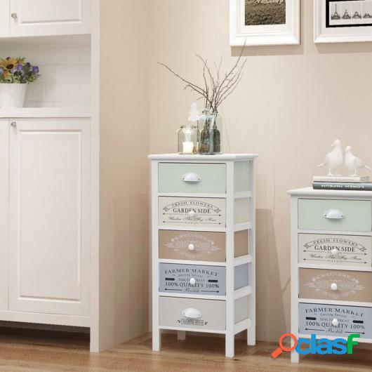 Mueble de almacenaje estilo francés 5 cajones de madera
