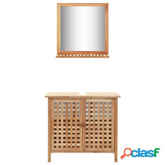 Mueble de lavabo con espejo de madera maciza de nogal