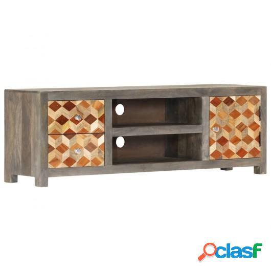 Mueble para TV de madera maciza de mango gris 120x30x40 cm