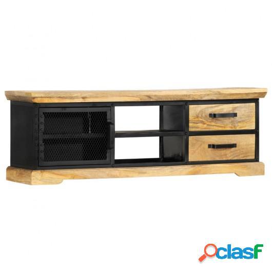 Mueble para TV de madera maciza de mango negro 120x30x40 cm