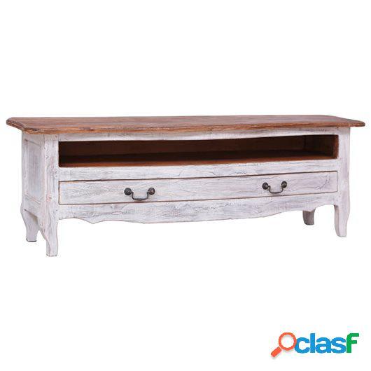 Mueble para TV de madera maciza reciclada blanco 120x30x40