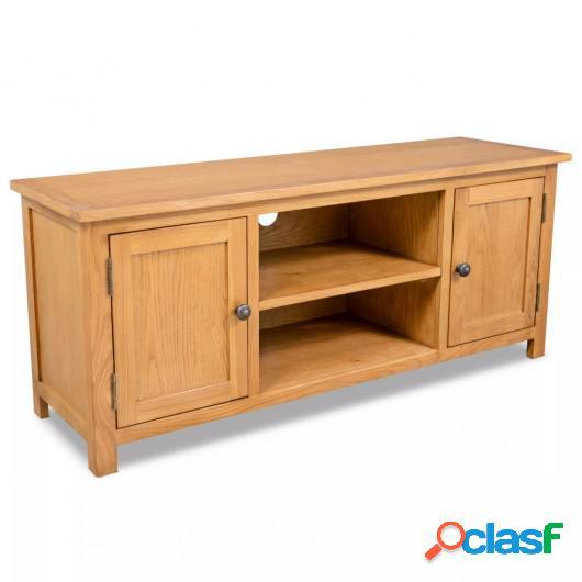 Mueble para el televisor madera maciza de roble 120x35x48 cm