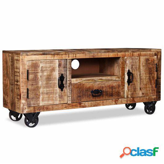 Mueble para la TV de madera de mango rugosa 120x30x50 cm