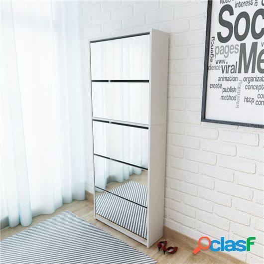 Mueble zapatero 5 cajones con espejo blanco 63x17x169,5 cm