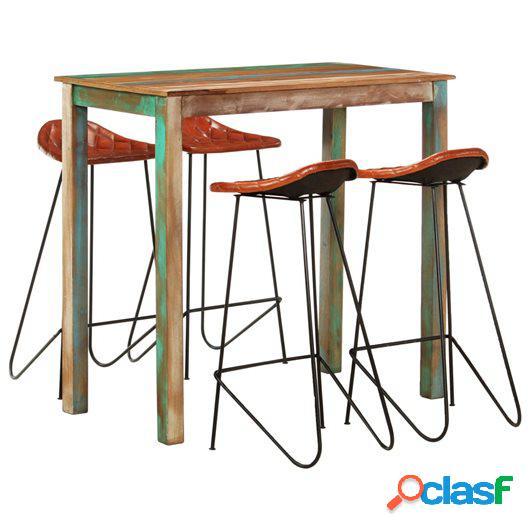 Muebles de bar 5 piezas madera maciza reciclada cuero