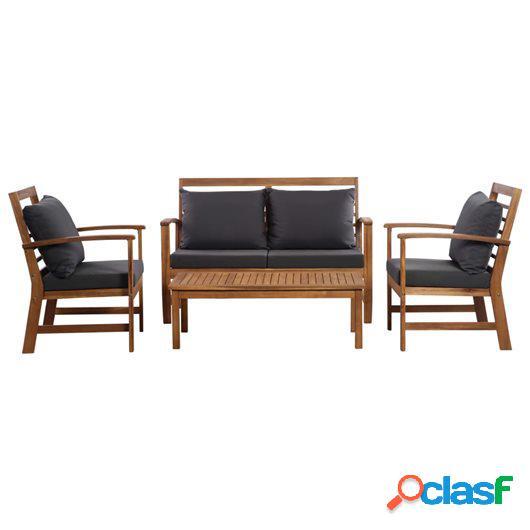 Muebles de jardín 4 piezas con cojines madera acacia maciza