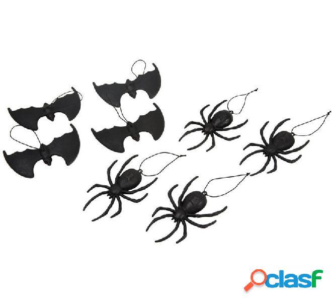 Pack 4 Arañas y 4 Murciélagos Colgantes de 14 cm