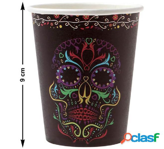 Pack de 6 Vasos del Día de los muertos de 10 cm