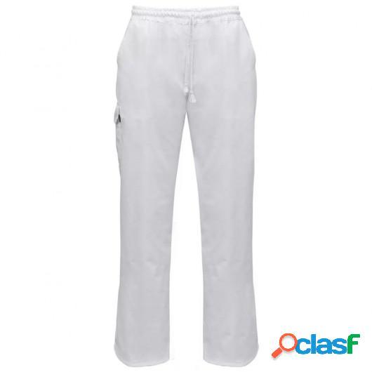 Pantalones de chef banda elástica y cordón talla S blanco