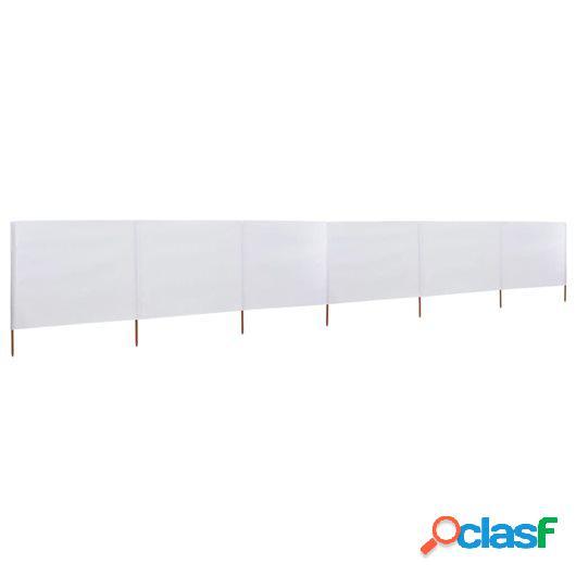 Paravientos de playa de 6 paneles de tela 800x80 cm blanco