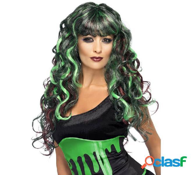 Peluca Negra con mechas verdes y moradas