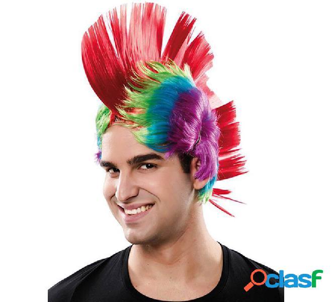 Peluca de Punk con Cresta Multicolor