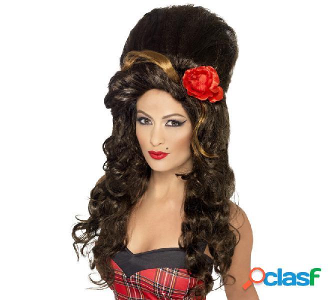 Peluca gran colmena de Amy Winehouse castaña con flor