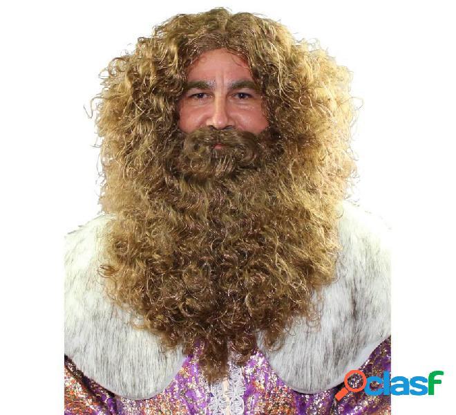 Peluca y Barba de Rey Mago Gaspar color castaño