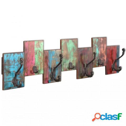 Perchero con 7 ganchos de madera maciza reciclada