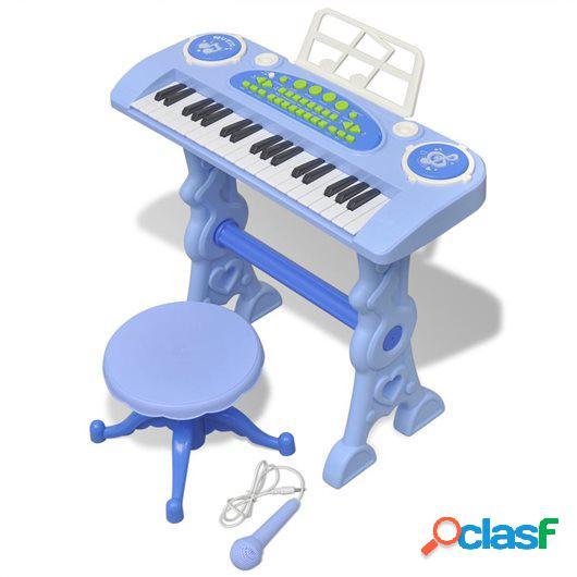 Piano de juguete de 37 teclas con taburete/micrófono para