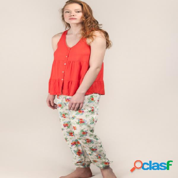 Pijama con camiseta de tirantes y pantalón estampado -