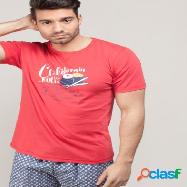 Pijama con camiseta y pantalón corto estampado - Gisela