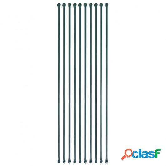 Postes de jardín 10 unidades 1,5 m metal verde