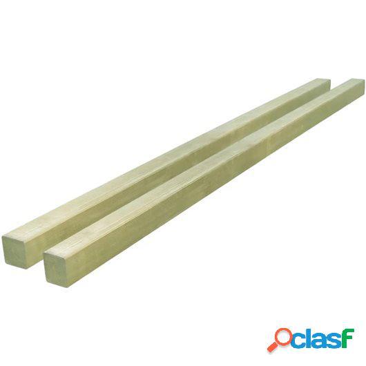 Postes de valla de pino impregnado 2 unidades 7x7cm 2m