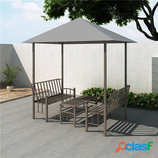 Pérgola de jardín con mesa y bancos 2,5x1,5x2,4 m gris