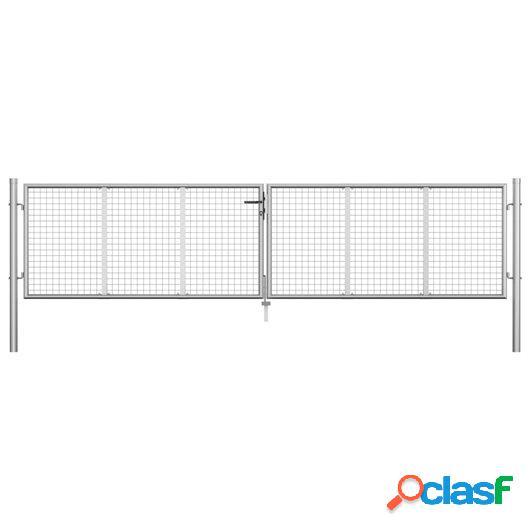 Puerta de jardín de acero galvanizado plateado 415x125 cm