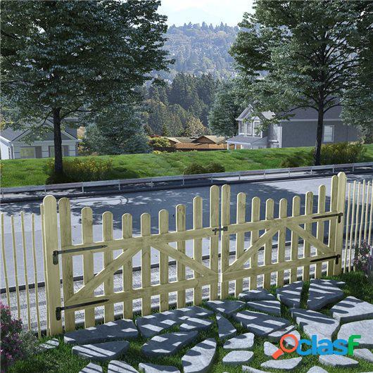 Puertas de valla 2 uds madera de pino impregnada FSC 150x120