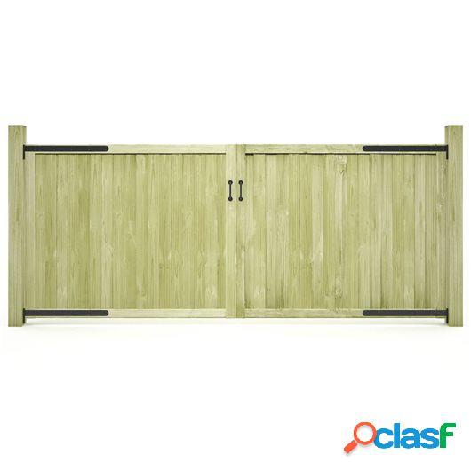 Puertas de valla 2 uds madera de pino impregnada FSC 300x125