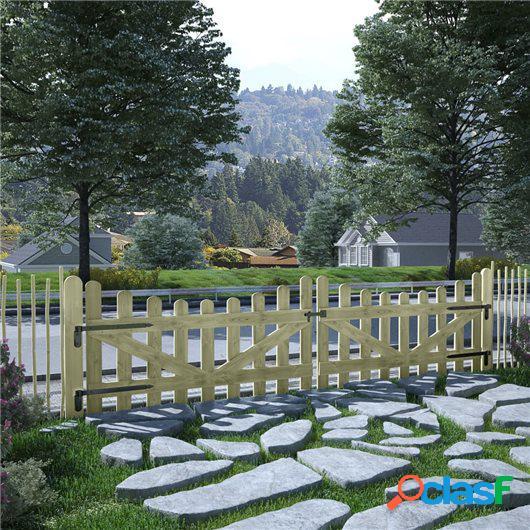 Puertas de valla madera de pino impregnada FSC 2 uds 150x80