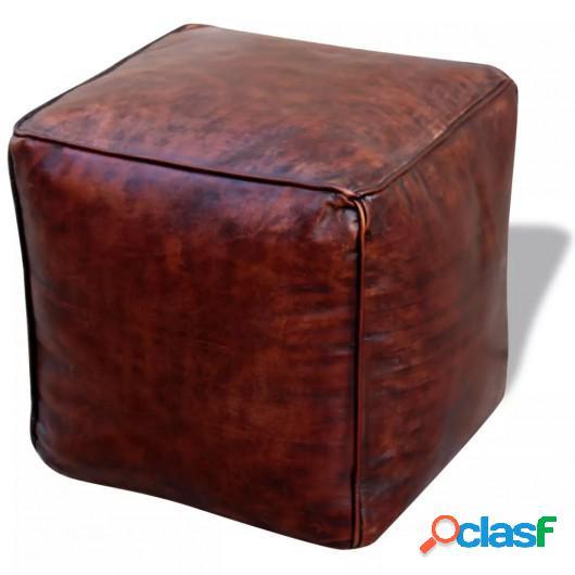 Puff cuero real cuadrado 45x45x45 cm marrón