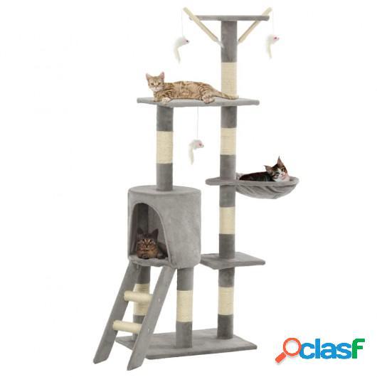 Rascador para gatos con poste de sisal 138 cm gris