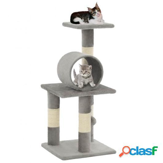 Rascador para gatos con poste de sisal 65 cm gris