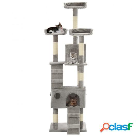 Rascador para gatos con poste rascador de sisal 170 cm gris