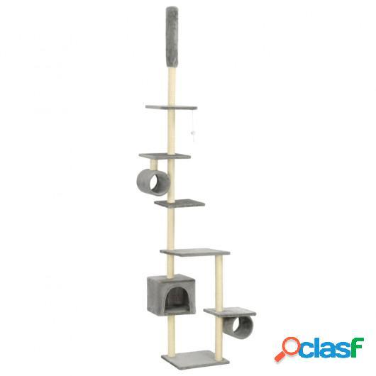 Rascador para gatos con poste rascador de sisal 260 cm gris