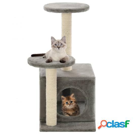 Rascador para gatos con poste rascador de sisal 60 cm gris