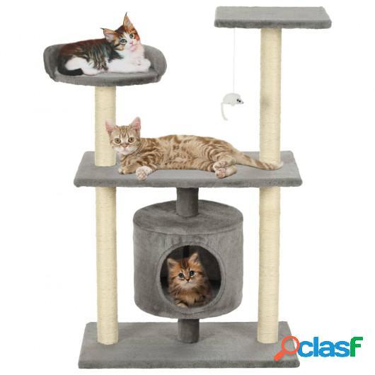 Rascador para gatos con poste rascador de sisal 95 cm gris